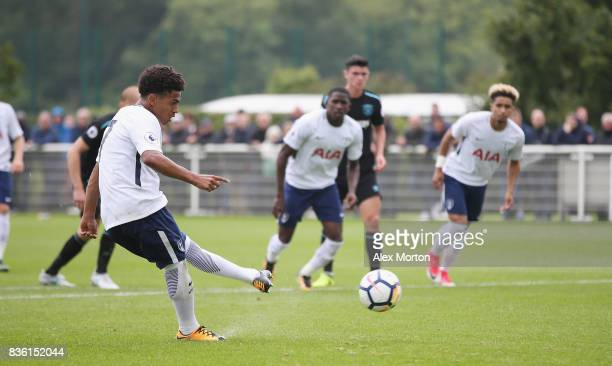 Marcus Edwards of Tottenham scores their second goal during the Premier League 2 match between Tottenham Hotspur and West Ham United at Tottenham...