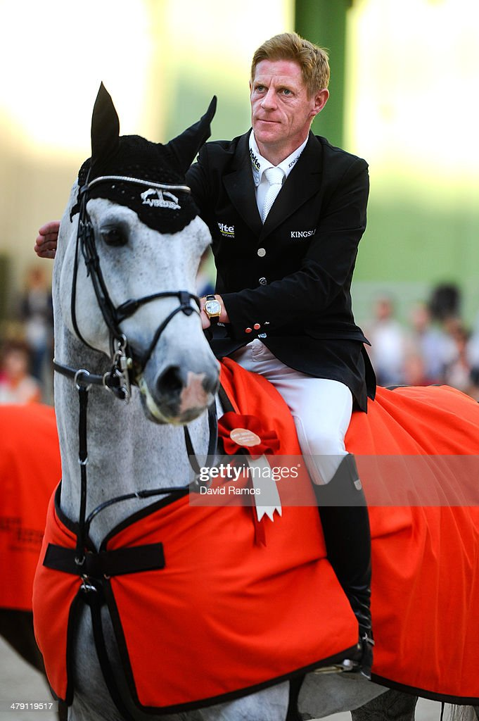 Marcus Ehning of Germany on Cornado NRW looks on after winning the Grand Prix Hermes during the third day of the Grand Prix Hermes of Paris at Grand...