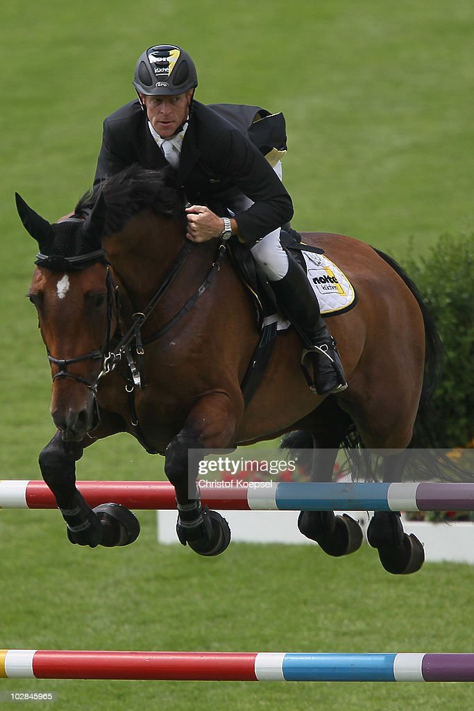 Marcus Ehning of Germany rides on Noltes Kuechengirl during the Stawag prize competition of the CHIO on July 13 2010 in Aachen Germany