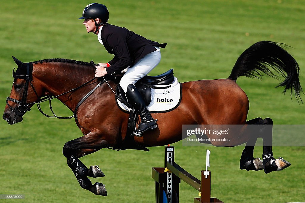 Marcus Ehning of Germany riding Comme il faut competes in the Class 02 CSI5* 150/155m Against the Clock with JumpOff during the Longines Global...