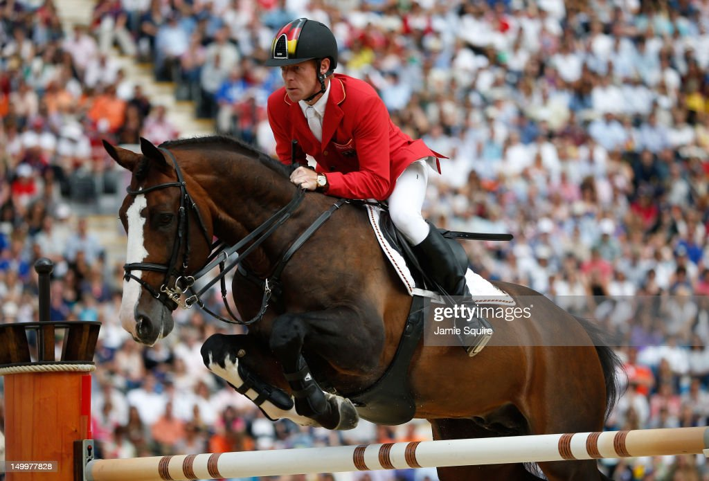 Marcus Ehning of Germany riding Plot Blue competes in the Individual Jumping Equestrian on Day 12 of the London 2012 Olympic Games at Greenwich Park...