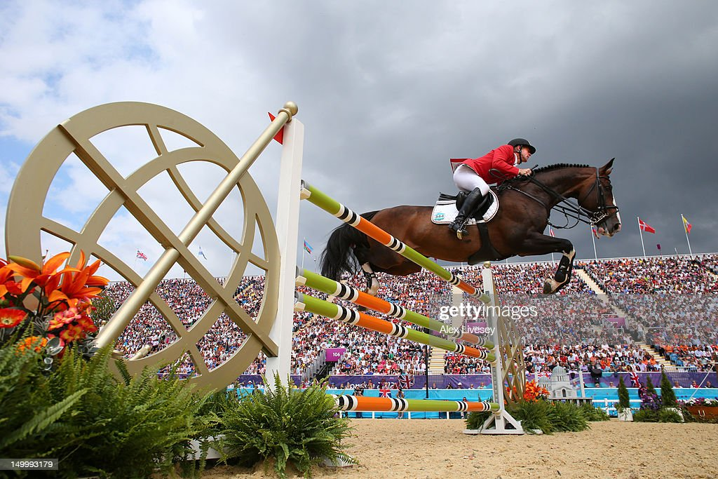 Marcus Ehning of Germany riding Plot Blue in the Individual Jumping on Day 12 of the London 2012 Olympic Games at Greenwich Park on August 8 2012 in...