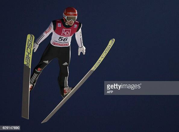 Marcus Eisenbichler of Germany competes during the FIS World Cup Ski Jumping HS 138 competition on December 11 2016 in Lillehammer Norway / AFP / NTB...