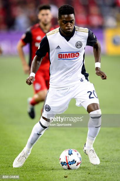 Marcus Epps of Philadelphia Union with the ball during the first half of the MLS Soccer regular season game between Toronto FC and Philadelphia Union...
