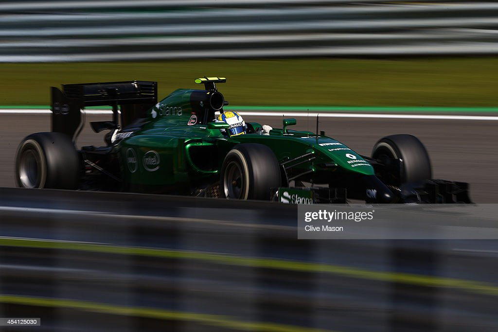 Marcus Ericsson of Sweden and Caterham drives during the Belgian Grand Prix at Circuit de Spa-Francorchamps on August 24, 2014 in Spa, Belgium.