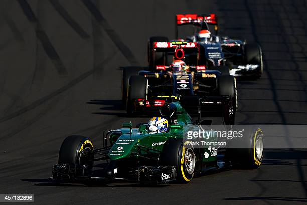 Marcus Ericsson of Sweden and Caterham drives during the Russian Formula One Grand Prix at Sochi Autodrom on October 12 2014 in Sochi Russia