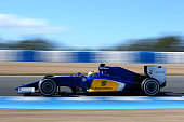 Marcus Ericsson of Sweden and Sauber F1 drives during day four of Formula One Winter Testing at Circuito de Jerez on February 4 2015 in Jerez de la...