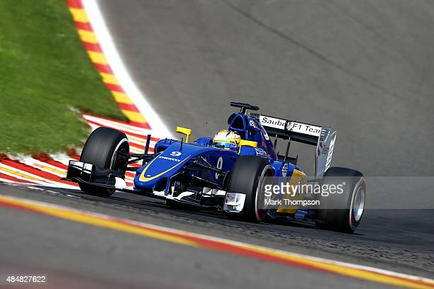 Marcus Ericsson of Sweden and Sauber F1 drives during final practice for the Formula One Grand Prix of Belgium at Circuit de SpaFrancorchamps on...