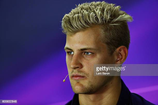 Marcus Ericsson of Sweden and Sauber F1 in the Drivers Press Conference during previews ahead of the Formula One Grand Prix of Singapore at Marina...