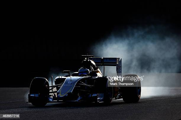 Marcus Ericsson of Sweden and Sauber F1 locks up during day two of Formula One Winter Testing at Circuit de Catalunya on February 20 2015 in Montmelo...