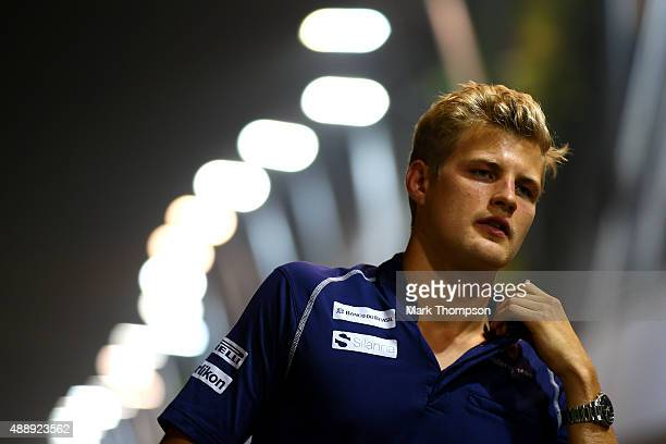 Marcus Ericsson of Sweden and Sauber F1 walks in the paddock during practice for the Formula One Grand Prix of Singapore at Marina Bay Street Circuit...