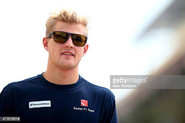 Marcus Ericsson of Sweden and Sauber F1 walks through the paddock during practice for the Spanish Formula One Grand Prix at Circuit de Catalunya on...