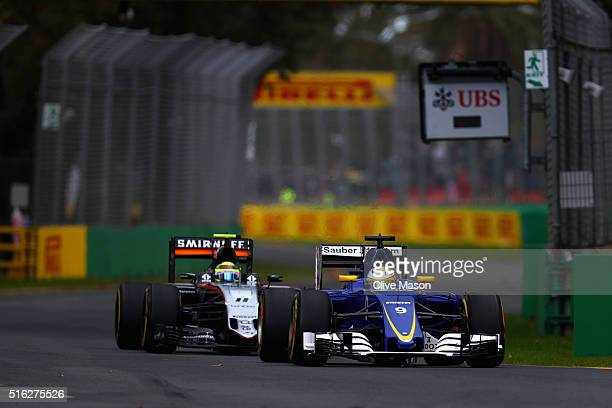Marcus Ericsson of Sweden drives the Sauber F1 Team Sauber C35 Ferrari 059/5 turbo on track during practice ahead of the Australian Formula One Grand...