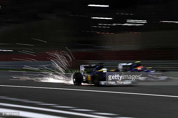 Marcus Ericsson of Sweden drives the Sauber F1 Team Sauber C35 Ferrari 059/5 turbo and Felipe Nasr of Brazil drives the Sauber F1 Team Sauber C35...