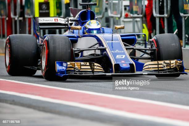 Marcus Ericsson of Sweden driving for the Sauber F1 Team exits pit lane on Friday Free Practice during the 2017 Rolex Australian Formula 1 Grand Prix...