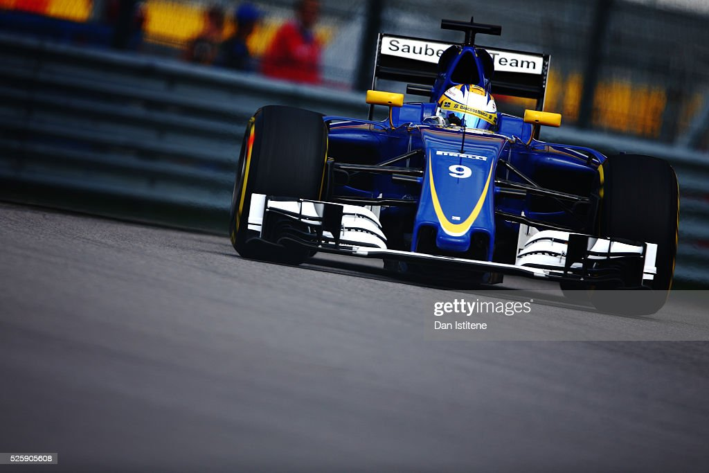 Marcus Ericsson of Sweden driving the (9) Sauber F1 Team Sauber C35 Ferrari 059/5 turbo on track during practice for the Formula One Grand Prix of Russia at Sochi Autodrom on April 29, 2016 in Sochi, Russia.