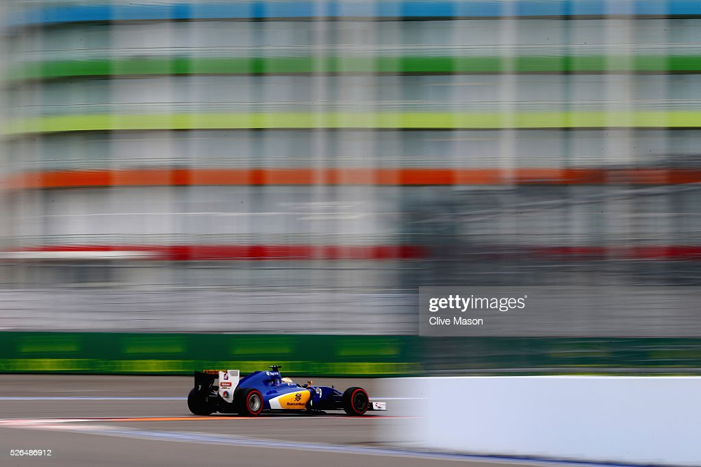 <a gi-track='captionPersonalityLinkClicked' href=/galleries/search?phrase=Marcus+Ericsson&family=editorial&specificpeople=6547855 ng-click='$event.stopPropagation()'>Marcus Ericsson</a> of Sweden driving the (9) Sauber F1 Team Sauber C35 Ferrari 059/5 turbo on track during final practice ahead of the Formula One Grand Prix of Russia at Sochi Autodrom on April 30, 2016 in Sochi, Russia.
