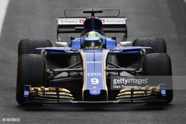 Marcus Ericsson of Sweden driving the Sauber F1 Team Sauber C36 Ferrari in the Pitlane during qualifying for the Formula One Grand Prix of Great...
