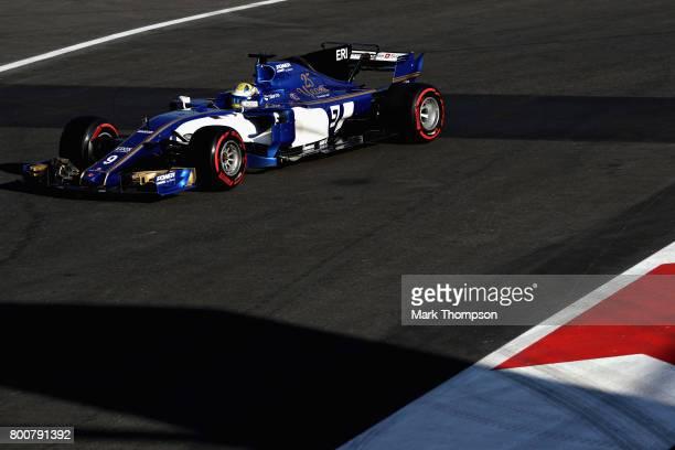 Marcus Ericsson of Sweden driving the Sauber F1 Team Sauber C36 Ferrari on track during the Azerbaijan Formula One Grand Prix at Baku City Circuit on...