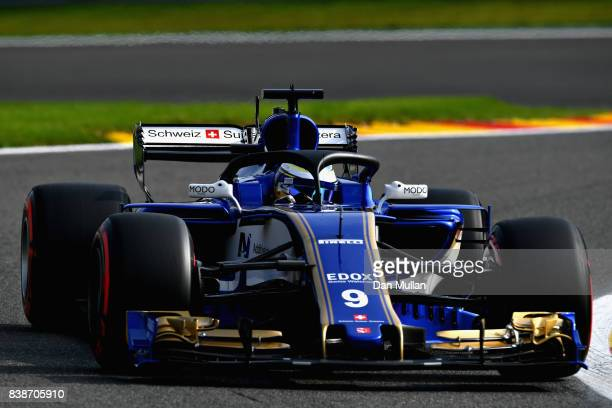 Marcus Ericsson of Sweden driving the Sauber F1 Team Sauber C36 Ferrari fitted with the halo on track during practice for the Formula One Grand Prix...