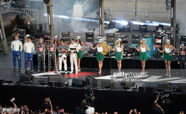 Marcus Ericsson Pascal Wehrlein Kevin Magnussen Romain Grosjean Fernando Alonso and Stoffel Vandoorne on stage at the F1 Live in London event at...