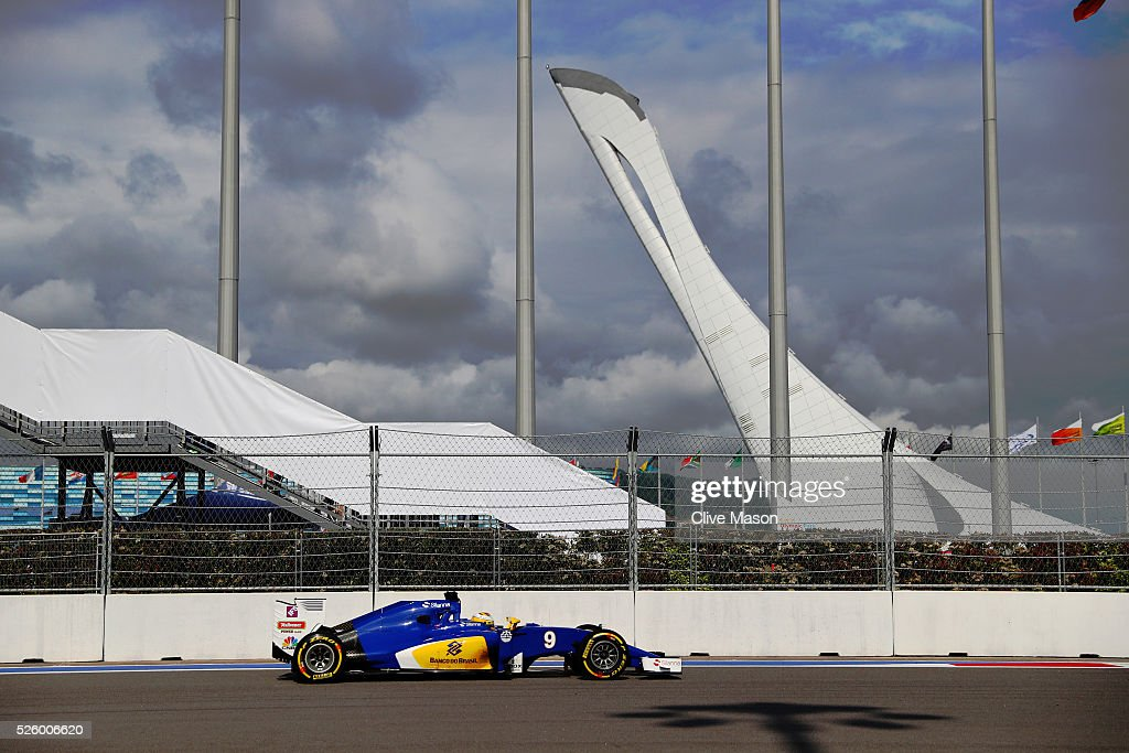 Marcus Ericstso n of Sweden driving the (9) Sauber F1 Team Sauber C35 Ferrari 059/5 turbo during practice for the Formula One Grand Prix of Russia at Sochi Autodrom on April 29, 2016 in Sochi, Russia.