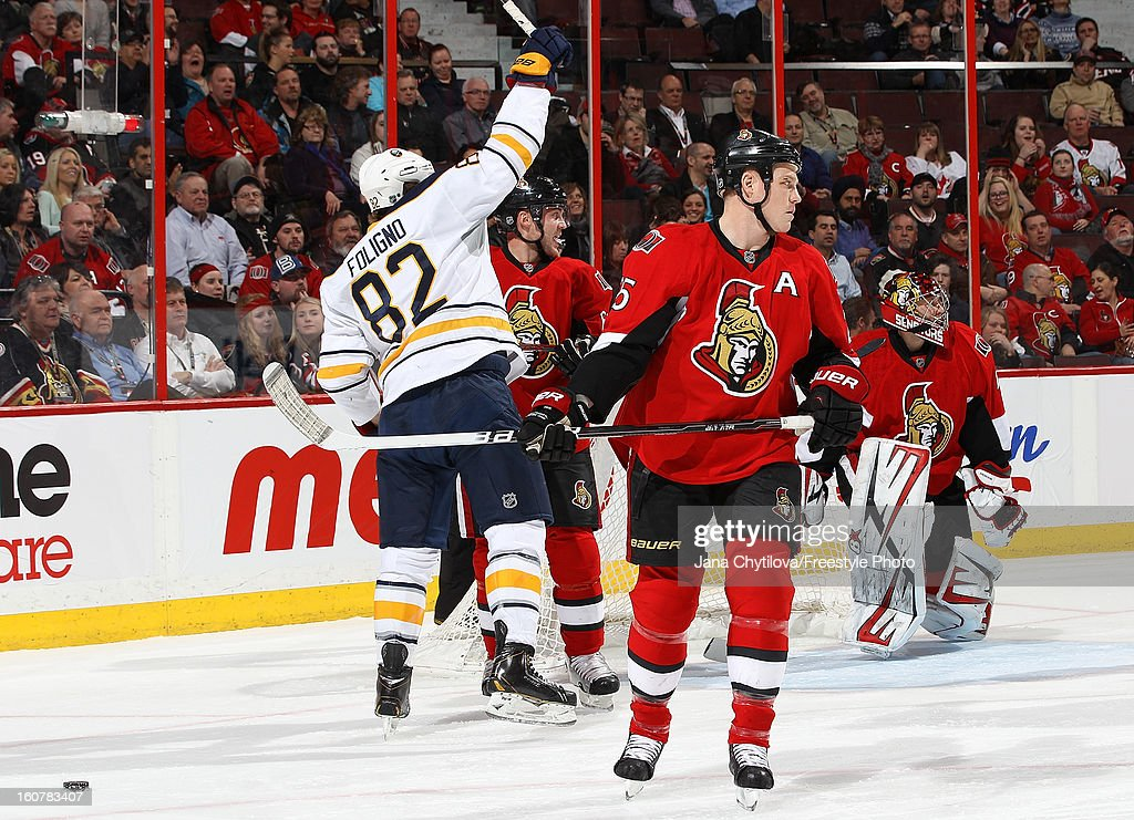 Marcus Foligno #82 of the Buffalo Sabres celebrates a first period goal during an NHL game against the Ottawa Senators at Scotiabank Place on February 5, 2013 in Ottawa, Ontario, Canada.