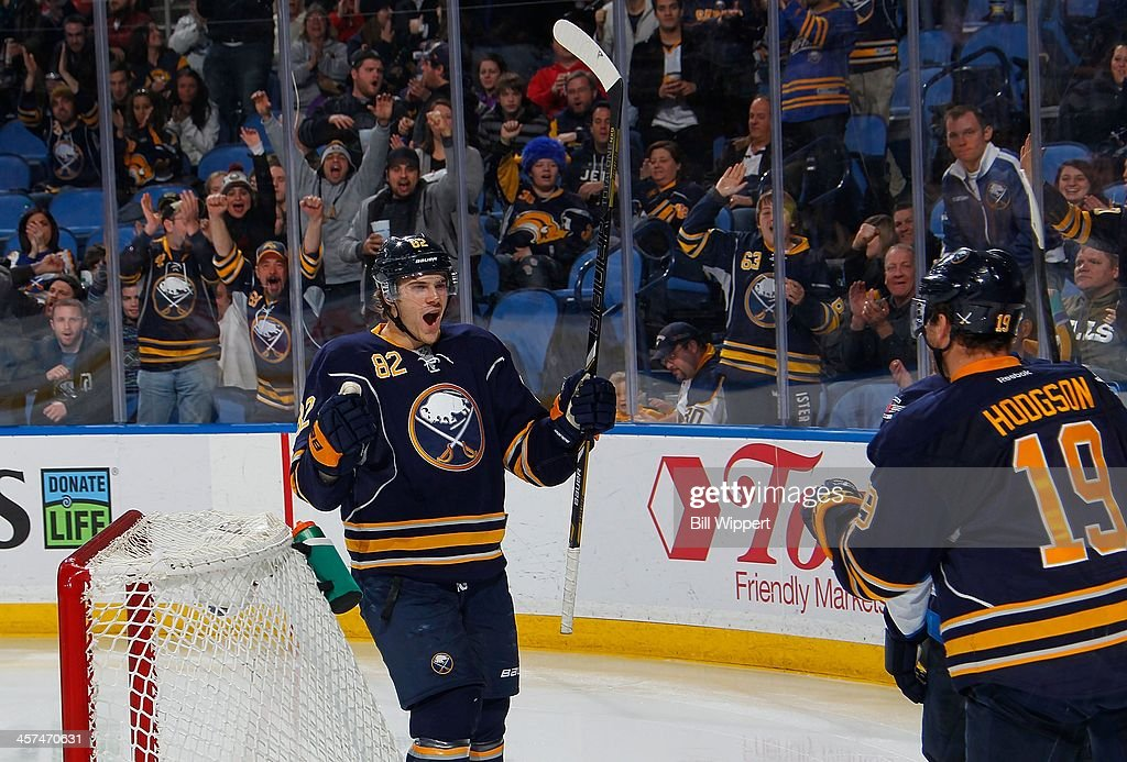 <a gi-track='captionPersonalityLinkClicked' href=/galleries/search?phrase=Marcus+Foligno&family=editorial&specificpeople=5662790 ng-click='$event.stopPropagation()'>Marcus Foligno</a> #82 of the Buffalo Sabres celebrates his third period goal with teammate <a gi-track='captionPersonalityLinkClicked' href=/galleries/search?phrase=Cody+Hodgson&family=editorial&specificpeople=4151192 ng-click='$event.stopPropagation()'>Cody Hodgson</a> #19 against the Winnipeg Jets on December 17, 2013 at the First Niagara Center in Buffalo, New York. Buffalo won, 4-2.