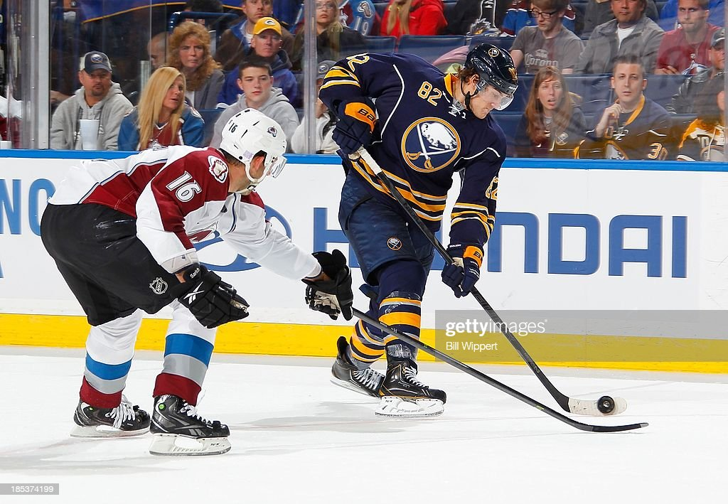 <a gi-track='captionPersonalityLinkClicked' href=/galleries/search?phrase=Marcus+Foligno&family=editorial&specificpeople=5662790 ng-click='$event.stopPropagation()'>Marcus Foligno</a> #82 of the Buffalo Sabres fires a slapshot against <a gi-track='captionPersonalityLinkClicked' href=/galleries/search?phrase=Cory+Sarich&family=editorial&specificpeople=204153 ng-click='$event.stopPropagation()'>Cory Sarich</a> #16 of the Colorado Avalanche on October 19, 2013 at the First Niagara Center in Buffalo, New York. Colorado won, 4-2.