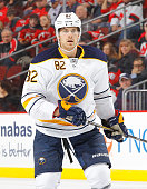 Marcus Foligno of the Buffalo Sabres in action against the New Jersey Devils at the Prudential Center on February 17 2015 in Newark New Jersey The...