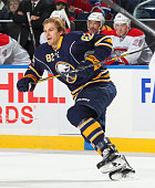 Marcus Foligno of the Buffalo Sabres skates after losing his helmet against the Montreal Canadiens on November 28 2014 at the First Niagara Center in...