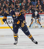 Marcus Foligno of the Buffalo Sabres skates against the Boston Bruins on October 18 2014 at the First Niagara Center in Buffalo New York