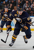 Marcus Foligno of the Buffalo Sabres skates against the Boston Bruins at First Niagara Center on January 15 2016 in Buffalo New York
