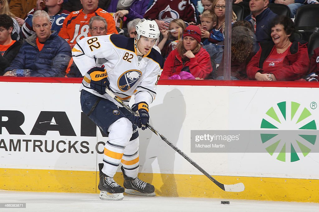 <a gi-track='captionPersonalityLinkClicked' href=/galleries/search?phrase=Marcus+Foligno&family=editorial&specificpeople=5662790 ng-click='$event.stopPropagation()'>Marcus Foligno</a> #82 of the Buffalo Sabres skates against the Colorado Avalanche at the Pepsi Center on February 1, 2014 in Denver, Colorado.