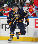 Marcus Foligno of the Buffalo Sabres skates against the Florida Panthers on October 17 2014 at the First Niagara Center in Buffalo New York