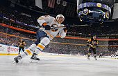 Marcus Foligno of the Buffalo Sabres skates against the Pittsburgh Penguins on April 11 2015 at the First Niagara Center in Buffalo New York