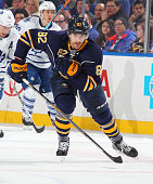 Marcus Foligno of the Buffalo Sabres skates against the Toronto Maple Leafs on April 1 2015 at the First Niagara Center in Buffalo New York