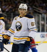 Marcus Foligno of the Buffalo Sabres skates during an NHL hockey game against the New York Rangers at Madison Square Garden on October 31 2013 in New...
