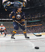 Marcus Foligno of the Buffalo Sabres skates for the puck against the Philadelphia Flyers during an NHL game on October 30 2015 at the First Niagara...