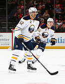 Marcus Foligno of the Buffalo Sabres skates in the secondperiod during the game against the New Jersey Devils at the Prudential Center on April 5 2016