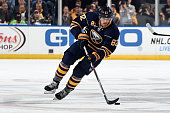 Marcus Foligno of the Buffalo Sabres skates with the puck during a game against the Ottawa Senators at the First Niagara Center on October 8 2015 in...