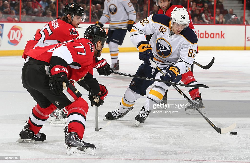 <a gi-track='captionPersonalityLinkClicked' href=/galleries/search?phrase=Marcus+Foligno&family=editorial&specificpeople=5662790 ng-click='$event.stopPropagation()'>Marcus Foligno</a> #82 of the Buffalo Sabres stickhandles the puck against <a gi-track='captionPersonalityLinkClicked' href=/galleries/search?phrase=Erik+Karlsson&family=editorial&specificpeople=5370939 ng-click='$event.stopPropagation()'>Erik Karlsson</a> #65 and <a gi-track='captionPersonalityLinkClicked' href=/galleries/search?phrase=Joe+Corvo&family=editorial&specificpeople=206339 ng-click='$event.stopPropagation()'>Joe Corvo</a> #77 of the Ottawa Senators at Canadian Tire Centre on December 12, 2013 in Ottawa, Ontario, Canada.
