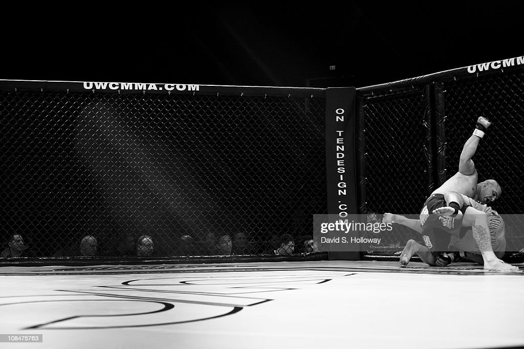 Marcus Foran fights Richie Hightower at UWC 5 Man 'O' War Extreme Cage Fighting at the George Mason University Patriot Center in Fairfax Virginia on...