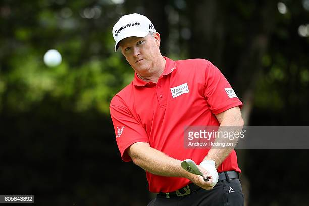 Marcus Fraser of Australia chips during the first round of the Italian Open at Golf Club Milano on September 15 2016 in Monza Italy