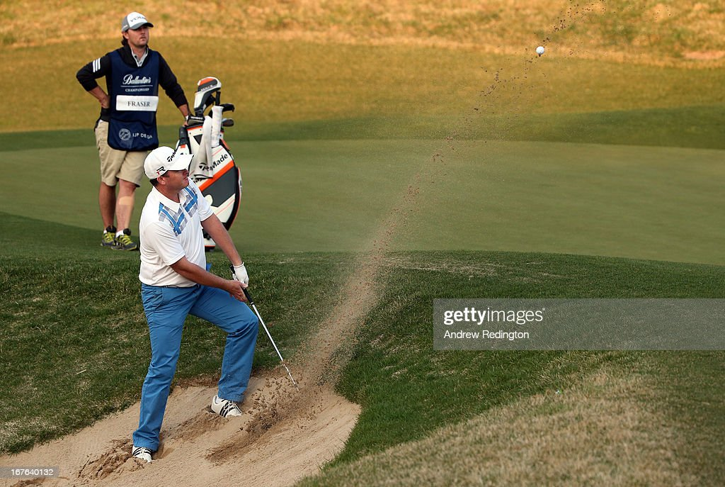 Marcus Fraser of Australia hits his fourth shot on the 18th hole during the third round of the Ballantine's Championship at Blackstone Golf Club on April 27, 2013 in Icheon, South Korea.