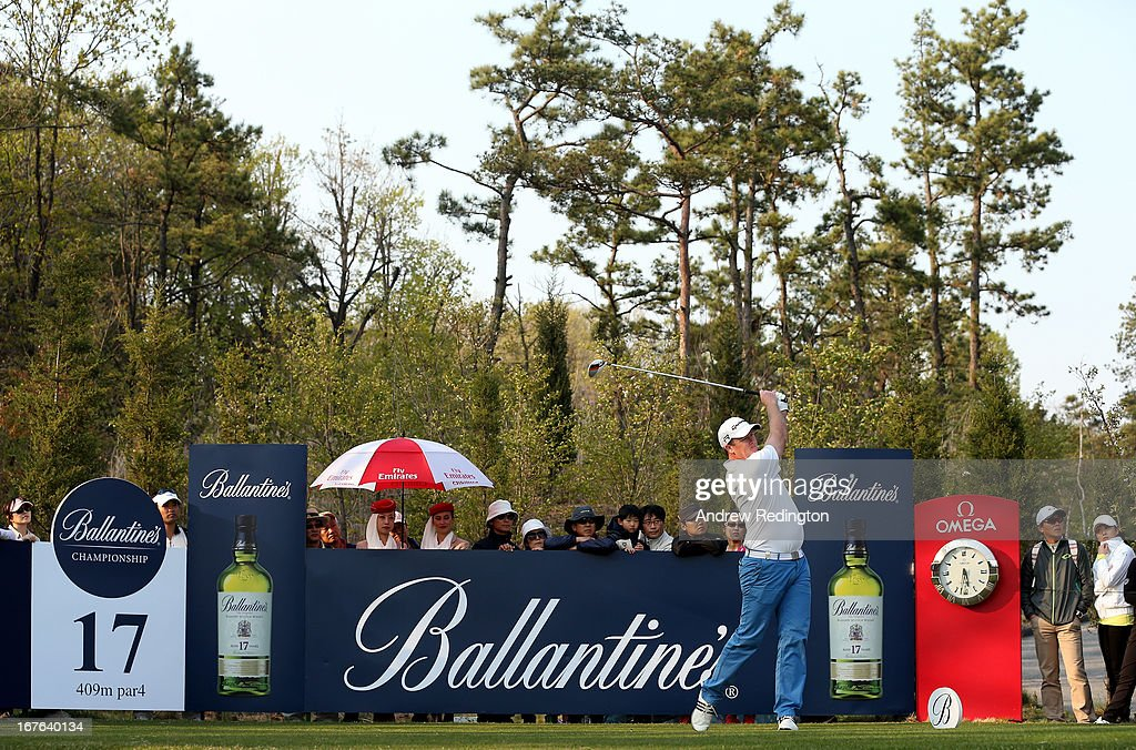 Marcus Fraser of Australia hits his tee-shot on the 17th hole during the third round of the Ballantine's Championship at Blackstone Golf Club on April 27, 2013 in Icheon, South Korea.