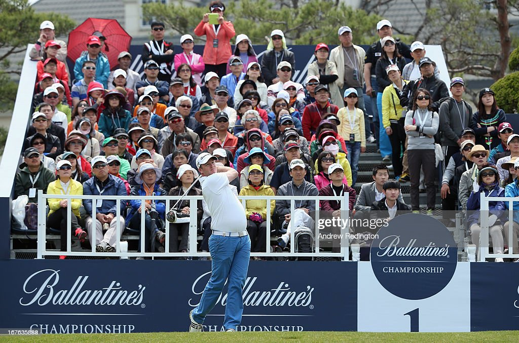 Marcus Fraser of Australia hits his tee-shot on the first hole during the third round of the Ballantine's Championship at Blackstone Golf Club on April 27, 2013 in Icheon, South Korea.