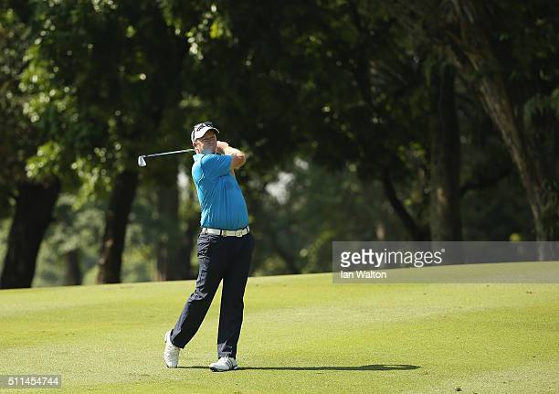 Marcus Fraser of Australia in action during the fourth round of the Maybank Championship Malaysia at Royal Selangor Golf Club on February 21 2016 in...