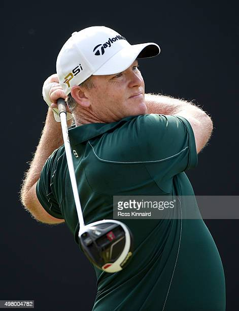 Marcus Fraser of Australia on the 3rd tee during the second round of the DP World Tour Championship on the Earth Course at Jumeirah Golf Estates on...