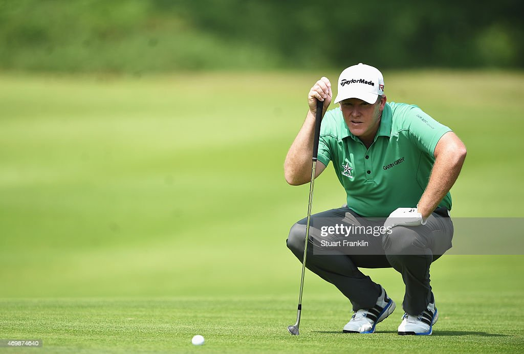 Marcus Fraser of Australia plays a shot during the first round of the Shenzhen International at Genzon Golf Club on April 16, 2015 in Shenzhen, China.